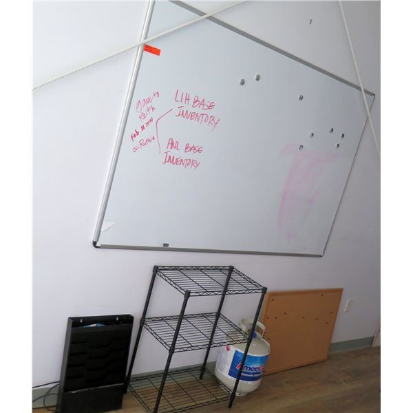 White Board, Metal Shelf, Sorter/Organizer Tray & AmeriGas Propane Exchange Tank