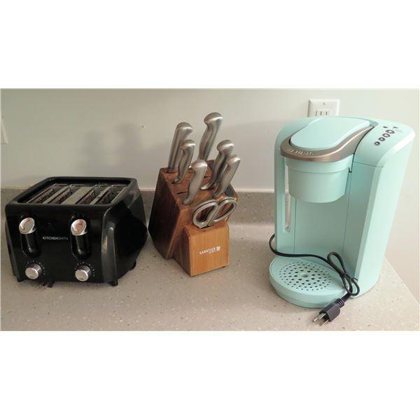 Keurig Coffee Maker, Sabatier Knife Set in Wood Block & KitchenSmith Toaster