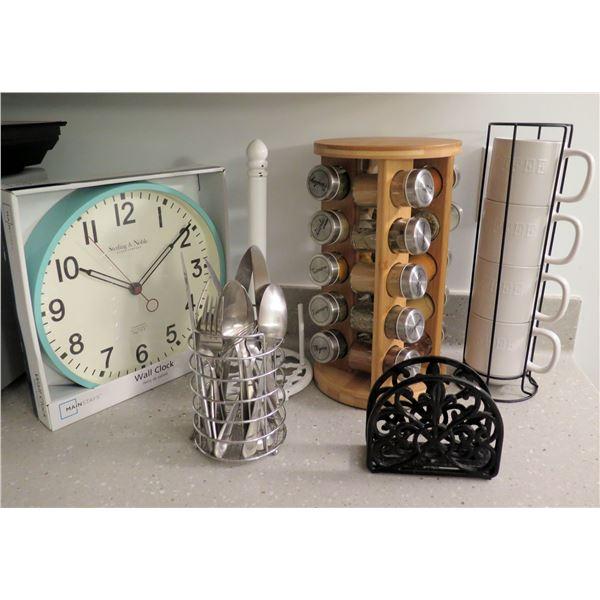 Wall Clock, Spice Rack w/ Jars, Mug Holder w/ Cups, Flatware & Napkin Holder