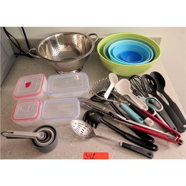 Misc Kitchen: Plastic Bowls, Metal Colander, Food Storage Containers & Utensils