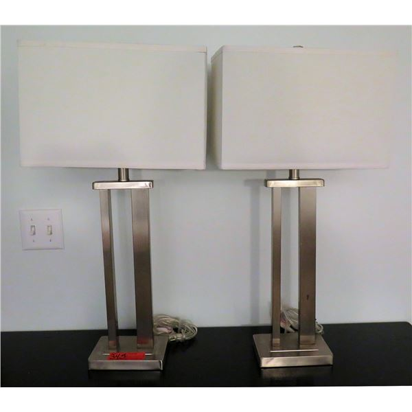Qty 2 Metal Base Lamps w/ Square Shades
