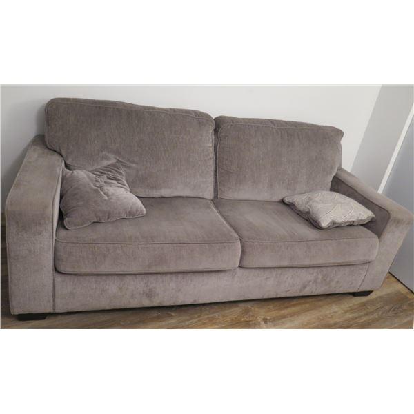 "Ashley Gray Plush 2 Seat Sofa Loveseat w/ 2 Cushions 86""x38""x32""H"