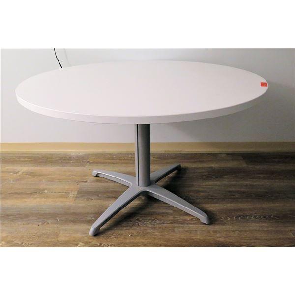 """White Round Table w/ Pedestal Base 48"""" Diameter x 29""""H"""