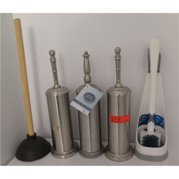 Qty 3 Bath Solutions Toilet Brush in Stainless Steel Holder, Misc Brush & Plunger