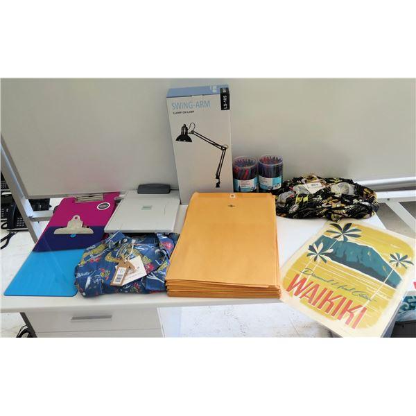 Misc Supplies: Diamond Head Poster, Envelopes, Swing Arm Lamp, Aloha Shirts, etc