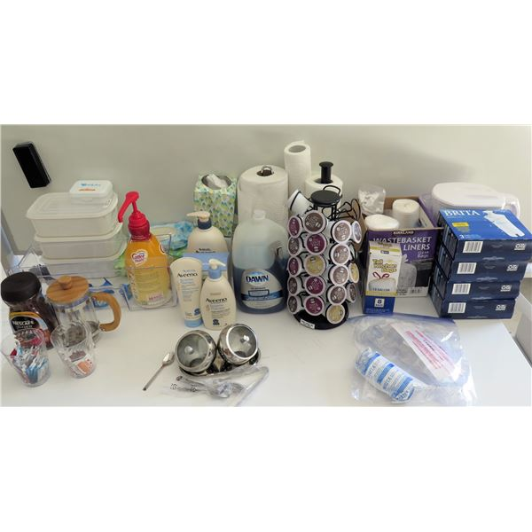 Misc Supplies:  Keurig Coffee Pod Holder & Cups, Aveeno Lotions, Cleaners, etc
