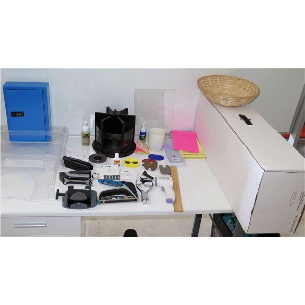 Misc Office Supplies: Safe, Organizers, Arrow Fastener, Paper Pro Stapler, etc