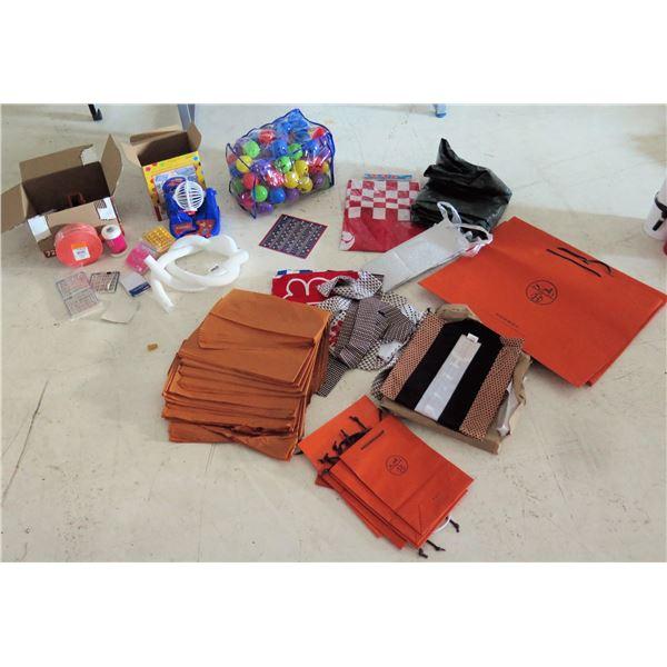 Misc Supplies: Hermes Bags, Bingo Cage & Cards Set, Raffle Tickets, Twine, etc