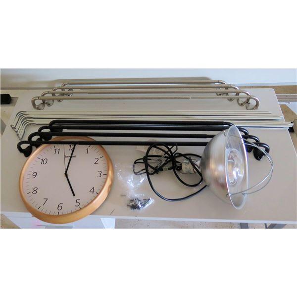 Multiple Hand Rails, Curtain Rods, Overhead Light & Bernini Wall Clock