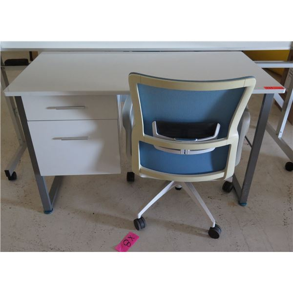 """White Desk w/ 2 Drawers & Rolling Blue Office Chair 47""""x24""""x30""""H"""