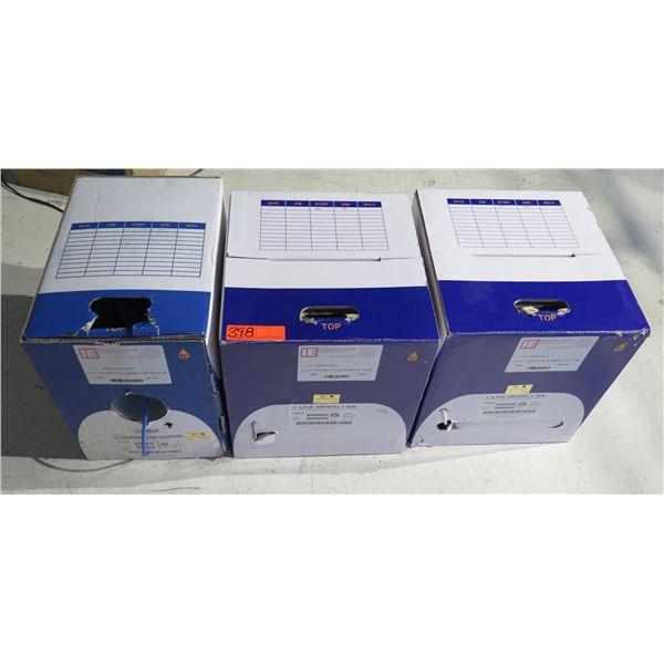 Qty 3 Boxes Industrial Electronics 23/4 PR Cat 6 500 MHz CMP Plenum Cable