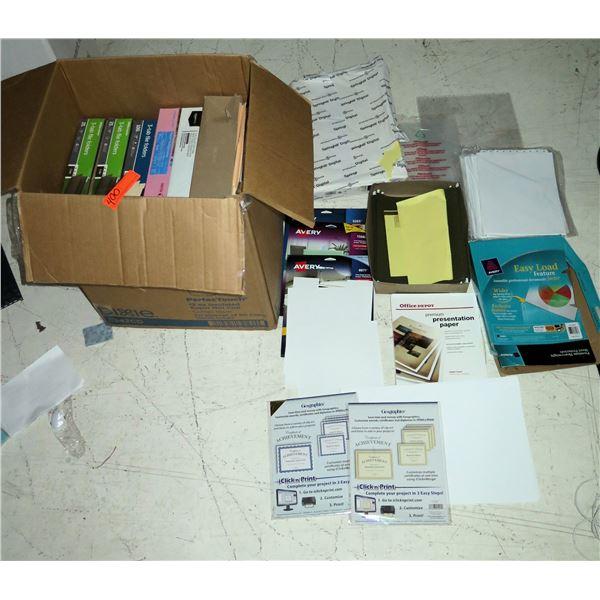 Misc Paper Products: Click & Print Certificates, Presentation Paper, Labels, etc