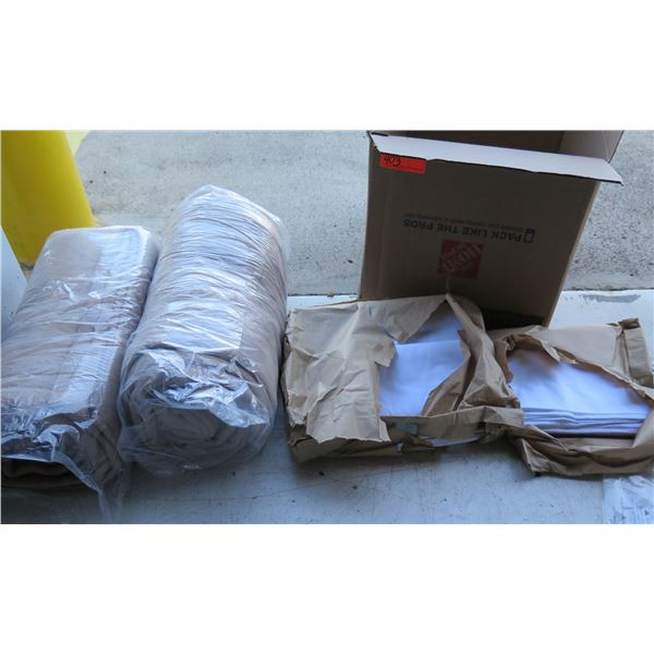 Qty 2 Rolled Blankets, Multiple Cover Pads, Paper Towels, etc