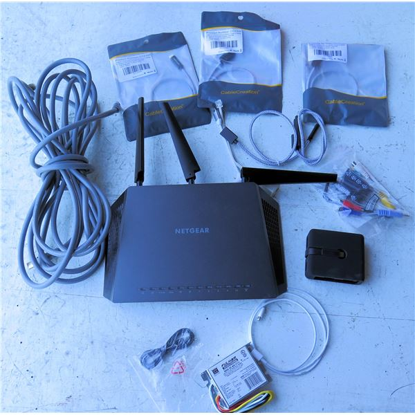 Netgear Nighthawk Router, Fulham work Horse Ballast, HDMI Cables, USB Cables, etc