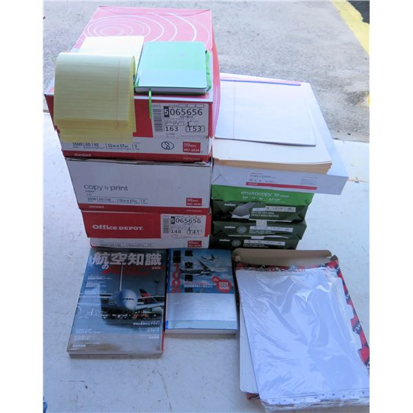 Qty 3 Boxes Office Depot Paper Reams, Legal Pads, File Tabs, Folders, etc