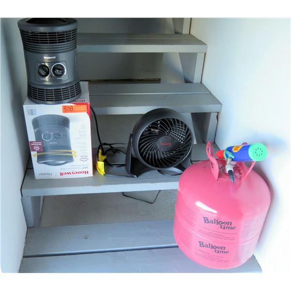 Honeywell Heater in Box, Table Fan & Balloon Time Tank, etc