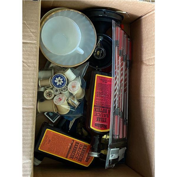 misc items w/ Fire King cup & saucer & vintage Watkins sauce bottles (full)