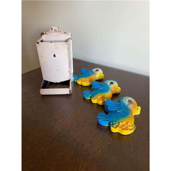 matchbox holder & set of 3 bluebird chalkware