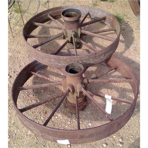 "2 smaller steel wheels 28"" high"