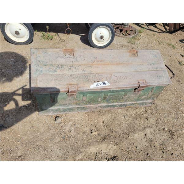 "Heavy military ammunition box (1943) 28"" X 9"" X 9"""