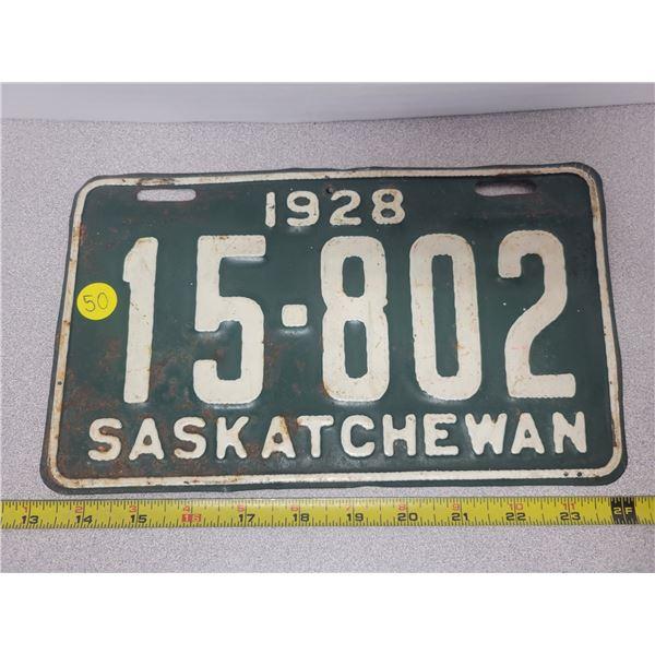 1928 Sask. Plate 15-802