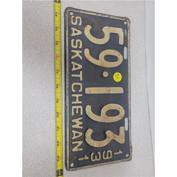 1931 Saskatchewan plate 59-193