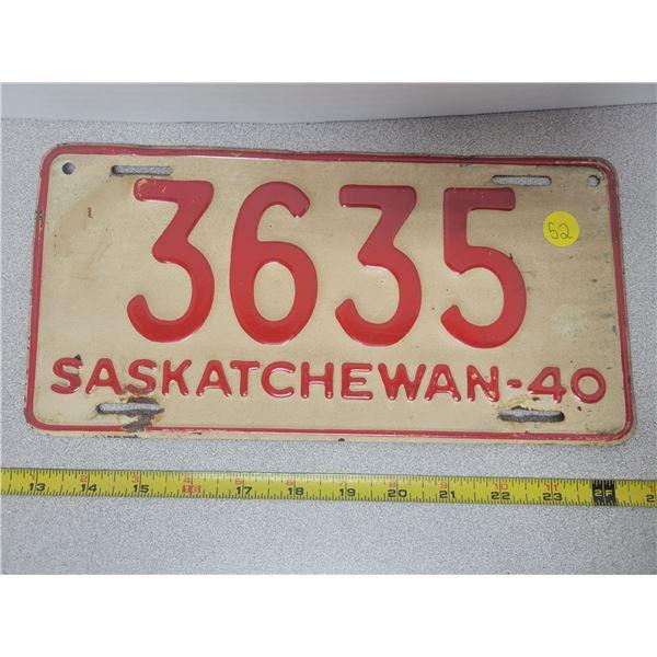 1940 Saskatchewan plate 3635