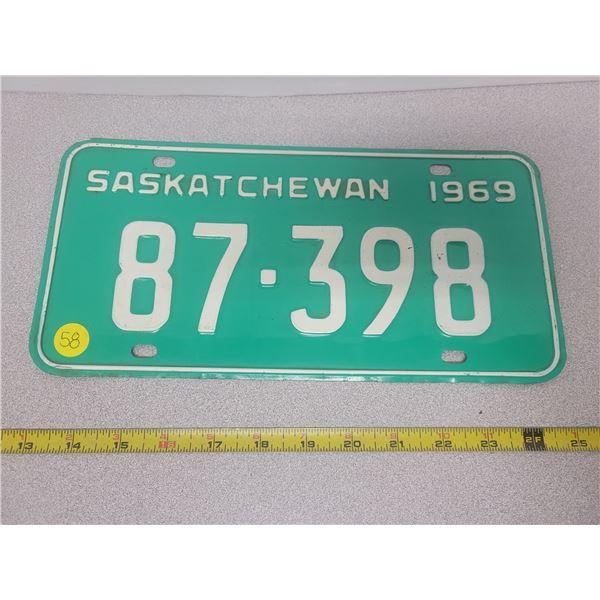 1969 Sask plate 87-398