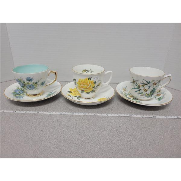 3 cup/saucer sets bone china