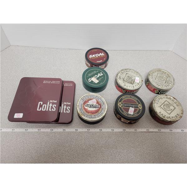 Copenhagen snuff boxes (4) Skoal (3) Colts cigars metal cases (2)