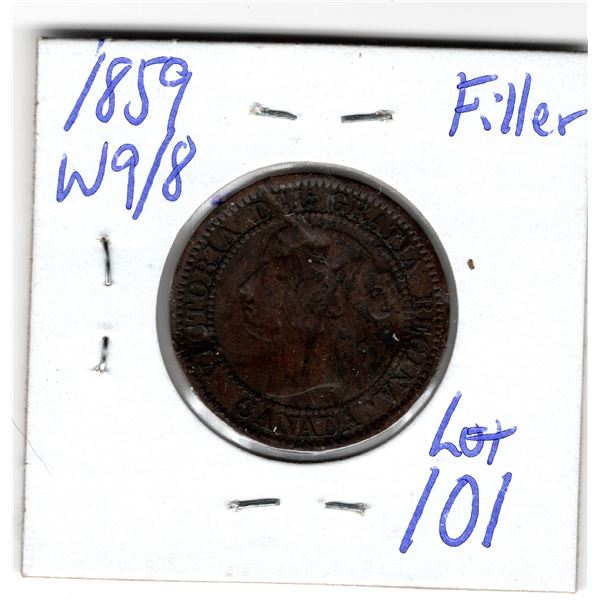1859 wide 9 over 8  large cent