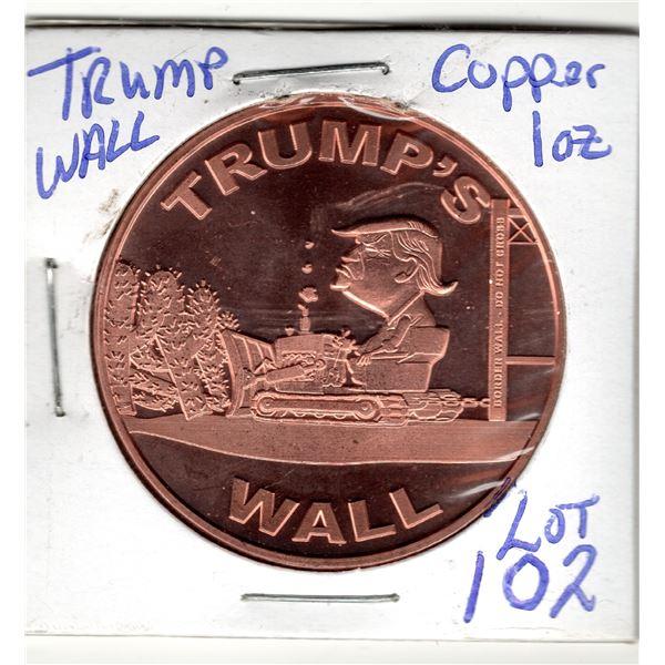 1oz copper round TRUMP WALL COIN