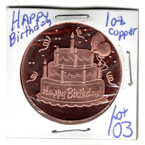 1 OZ COPPER ROUND HAPPY BIRTHDAY