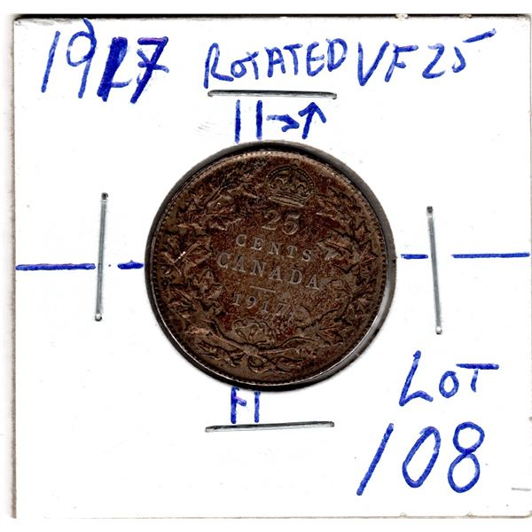 1917 VF25 25 CENT ROTATED