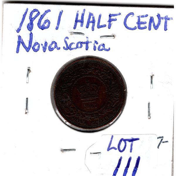 VF20 1861 NOVA SCOTIA HALF CENT