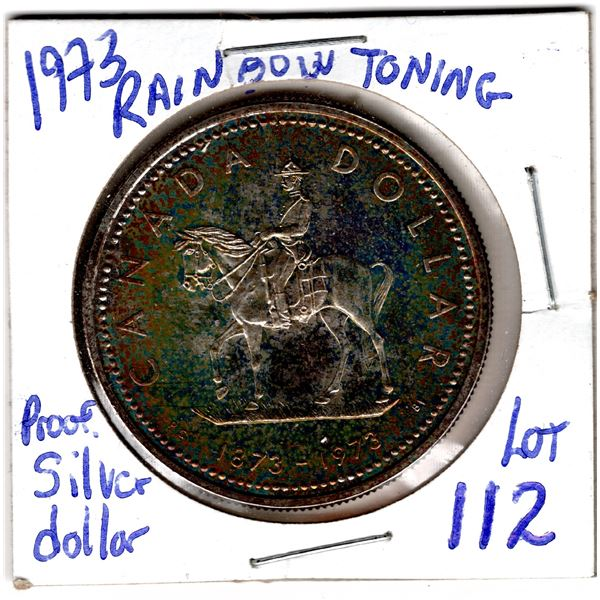 1973 PROOF SILVER DOLLAR RAINBOW TONED