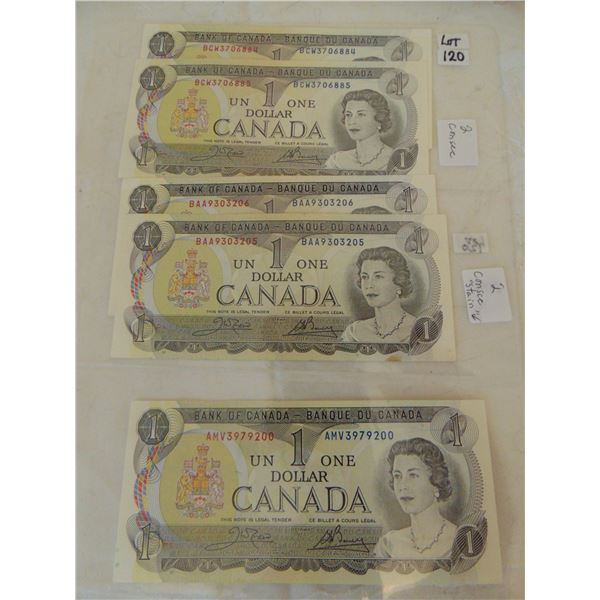 LOT OF 5 DOLLAR BILLS (ONE STAINS ON BACK)