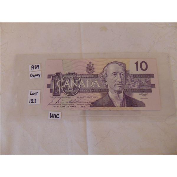 1989 OSPREY 10 DOLLAR BILL UNCIRCULATED