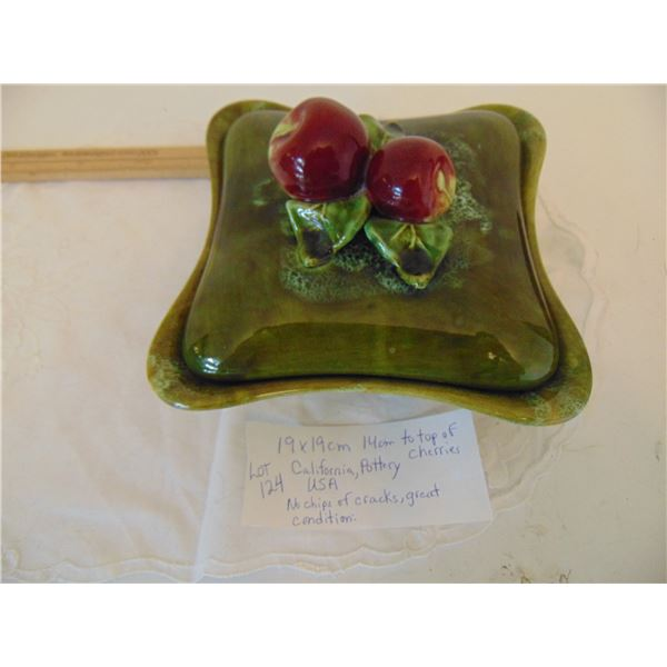 CALIFORNIA POTTERY CANDY DISH WITH CHERRIES /PLUMS ON TOP
