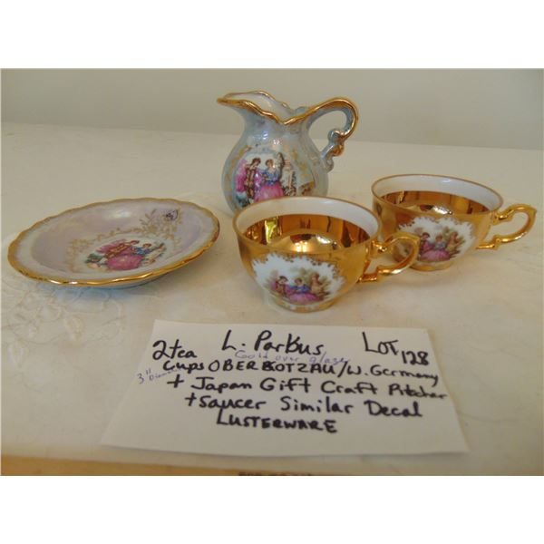 COURTING DECAL ON L. PARBUS W. GERMANY CUPS & JAPAN GIFTCRAFT  CREAM PITCHER & SAUCER.