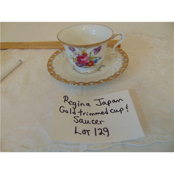 REGINA JAPAN GOLD TRIMMED CUP & SAUCER