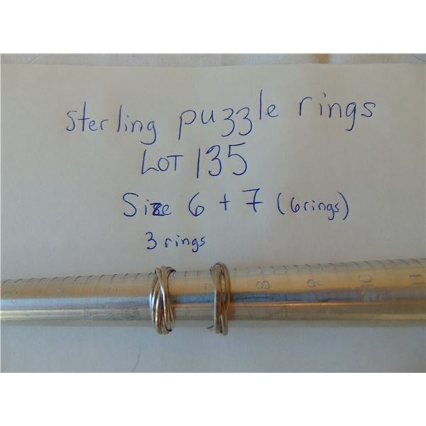 SIZE 6 & 7 STERLING PUZZLE RINGS