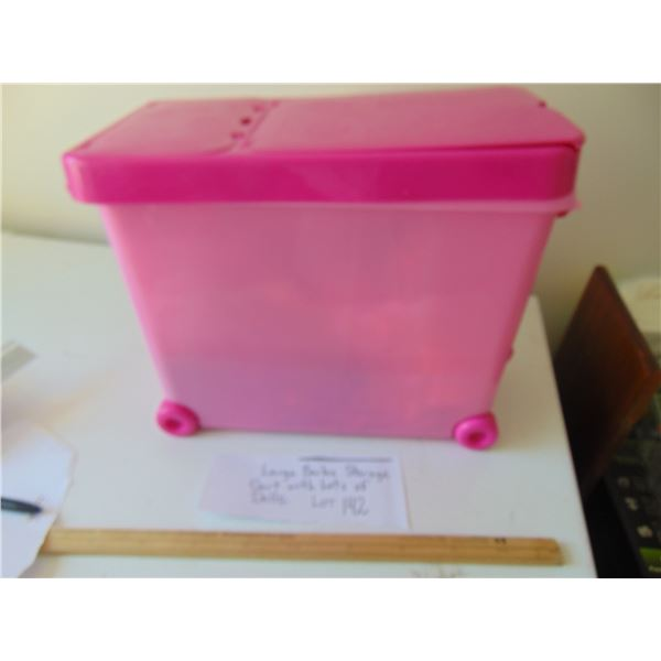 LARGE BARBIE STORAGE CART ON WHEELS WITH LOTS OF BARBIES