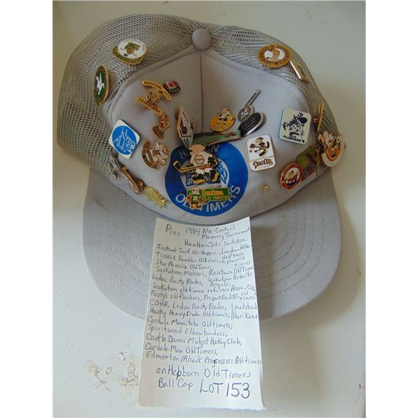 HEPBURN OLD TIMERS CAP WITH MULTIPLE OLD TIMERS HOCKEY CLUB PINS