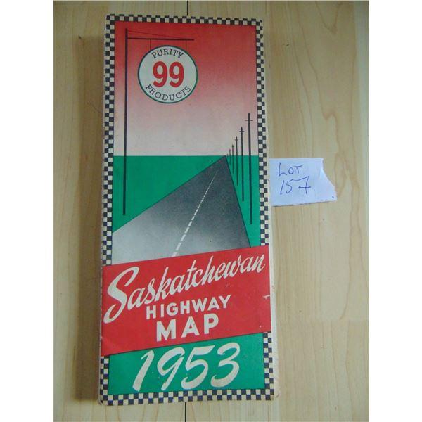 1953 PURITY 99 ANGLO AMERICAN EXPLORATIONS SASKATCHEWAN ROAD MAP SCARCE