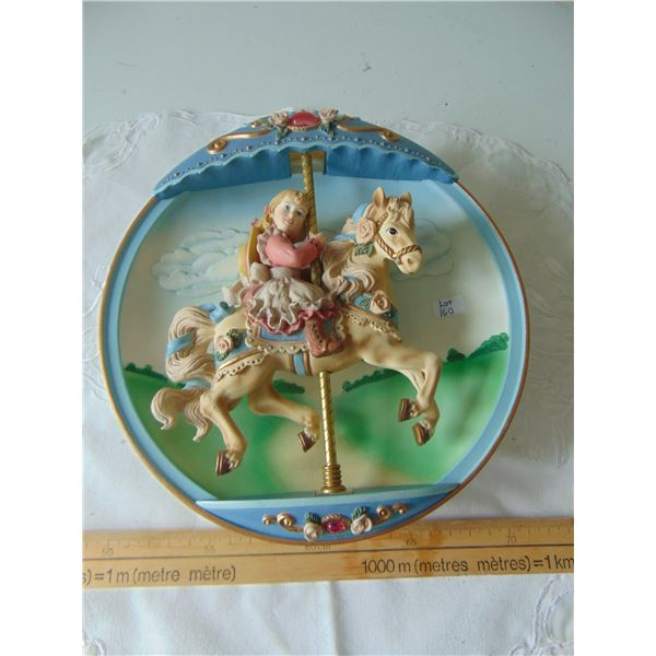 CAROUSEL DAYDREAMS SWEPT AWAY 1984 BRADFORD EXCHANGE WIND UP WALL HANGING WORKS