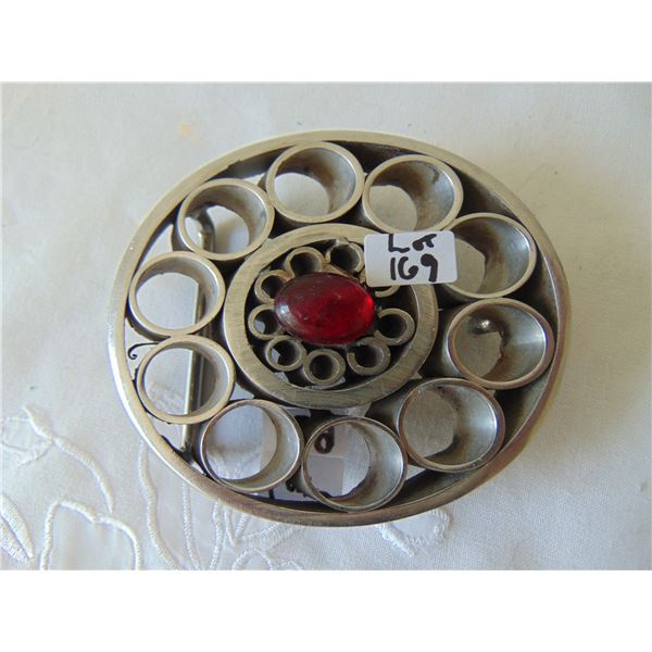 ARTISAN BELT BUCKLE STEEL CYLINDERS WITH COLOURED STONE/GLASS