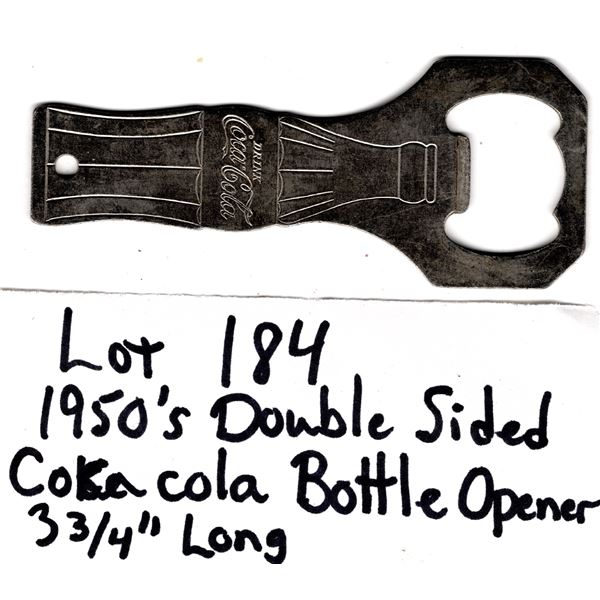 1950.s DOUBLE SIDED COCA-COLA METAL BOTTLE OPENER