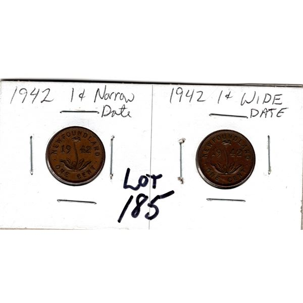 1942 NEWFOUNDLAND ONE CENT WIDE AND NARROW DATE