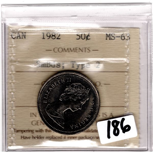 1982 50CENTS ICCS MS63 SCARCE SMALL BEADS TYPE 2